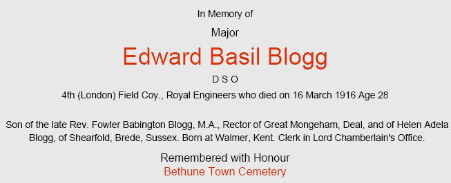 Major Blogg's CWGC certificate: