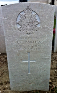 Sergeant Partlin's grave in the Mont Huon Military Cemetery, Le Treport. Taken by Sara Robinson on a visit in August 2012.  Click on this image to enlarge