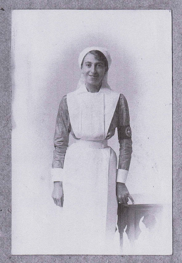 Here she is wearing the uniform of a St. John VAD.