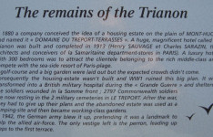 Noticeboard explaining the history of Le Trianon Hotel